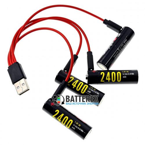 AA (14500) Li-ion Soshine 2400mah 1.5V Protected micro USB - комплект 4 аккумулятора, зарядный кабель и бокс для хранения