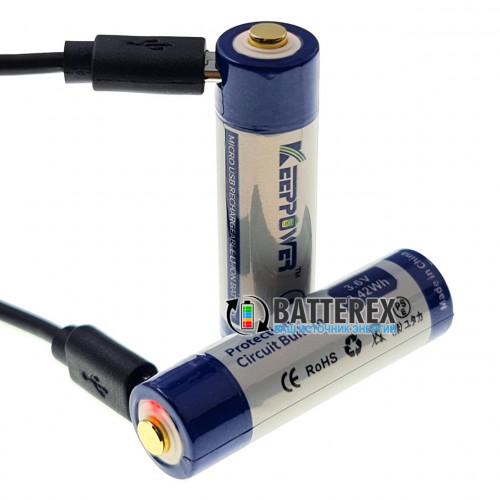 14500 Keeppower 950mah 3,6V Protected microUSB - с защитой и портом USB для подзарядки