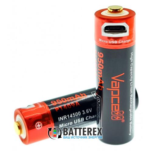 14500 Vapcell 950mah 3,6V Protected micro USB - с защитой и зарядкой от USB