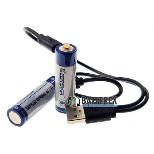AA Li-ion Keeppower 1950mah 1.5V Protected micro USB - литиевый АА аккумулятор с постоянным напряжением 1.5V с зарядкой от USB