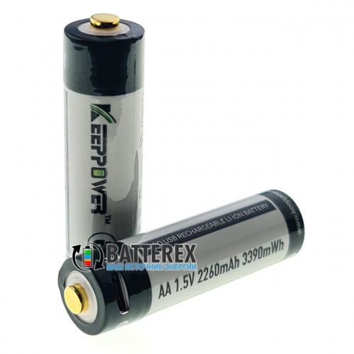 AA Li-ion Keeppower 2260mah 1.5V Protected micro USB - литиевый АА аккумулятор с постоянным напряжением 1.5V с зарядкой от USB
