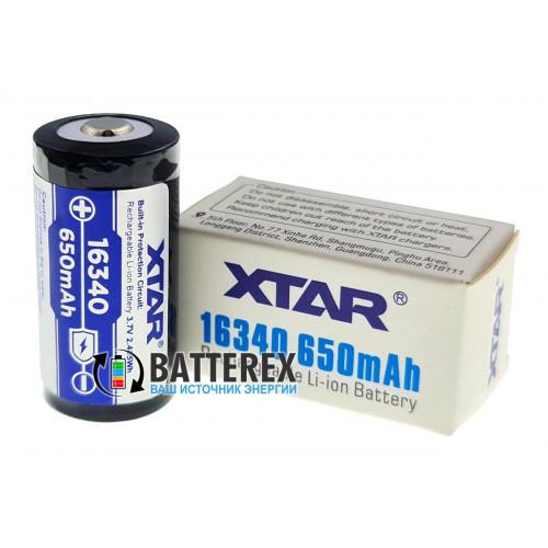 16340 (CR123A) XTAR 650mah 3,7V Protected с защитой