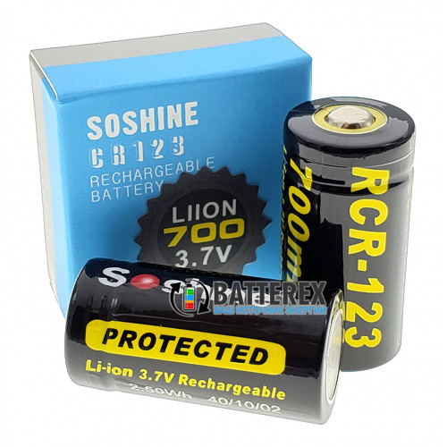 16340 (CR123a) Soshine 700mah 3,7V с защитой