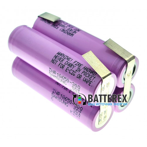 Сборка 2S2P 7.4-8.4V 6000mah из 4х аккумуляторов 18650 Samsung 30Q 3000mah 15A