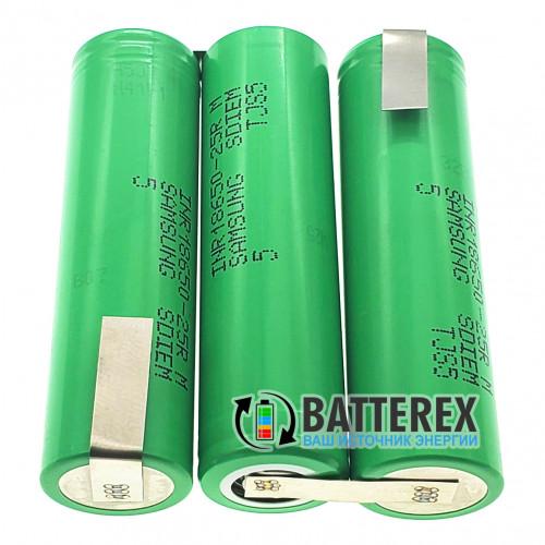 Сборка 3S 11.1-12.6V 20A 2500mah из 3х аккумуляторов 18650 Samsung 25R для шуруповёрта (плоская)