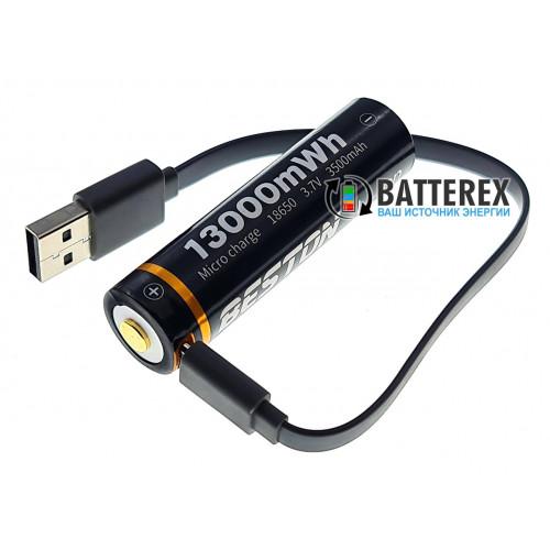 18650 Beston 3500mah 3,7V Protected c USB портом для зарядки - в комплекте кейс для хранения и зарядный кабель