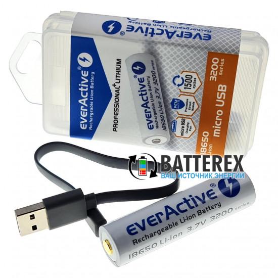 Аккумулятор 18650 с зарядкой от USB Everactive 3200mah 3,7V Protected с защитой + кейс для хранения и кабель для зарядки