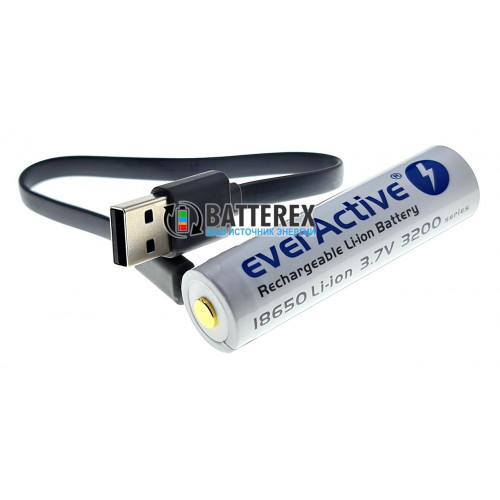 18650 Everactive 3200mah 3,7V Protected micro USB с защитой и зарядкой от USB + кейс для хранения и кабель для зарядки