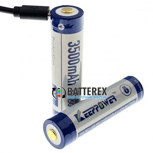18650 KeepPower 3500mah 3,7V с защитой с зарядкой от micro-USB