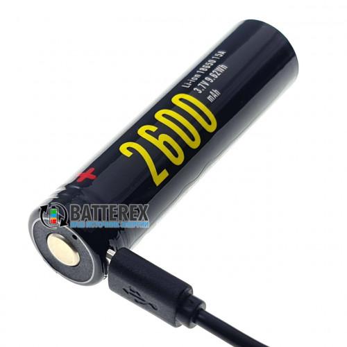 18650 Soshine 2600mah 3,7V Protected с защитой с зарядкой от micro-USB
