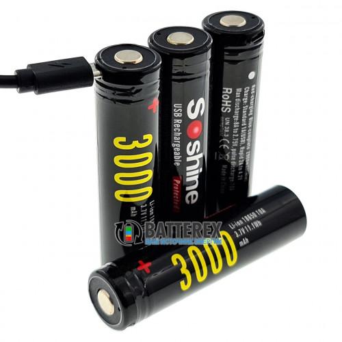 18650 Soshine 3000mah 3,7V Protected с защитой с зарядкой от micro-USB