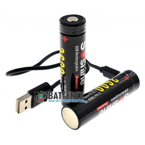 18650 Soshine 3600mah 3,7V Protected с защитой с зарядкой от micro-USB