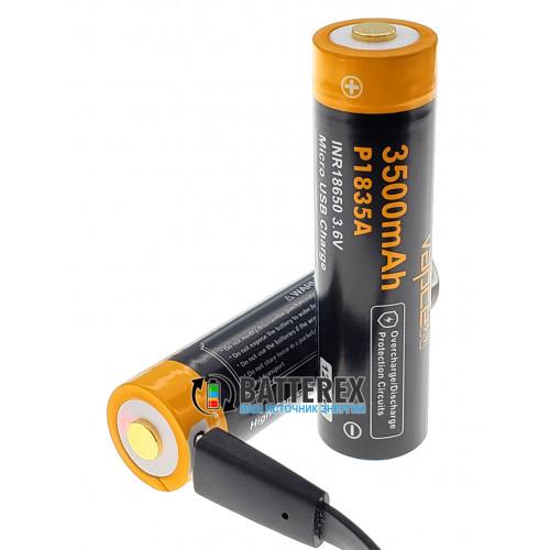 18650 Vapcell 3500mah 3,6V Protected micro USB - с защитой и зарядкой от USB (внутри Sanyo 3500mah)