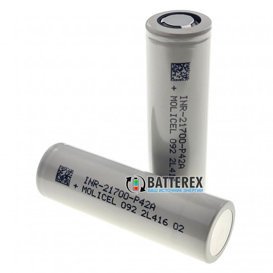 Высокотоковый аккумулятор 21700 Molicel INR P42A 4200mah 3.6V 45A