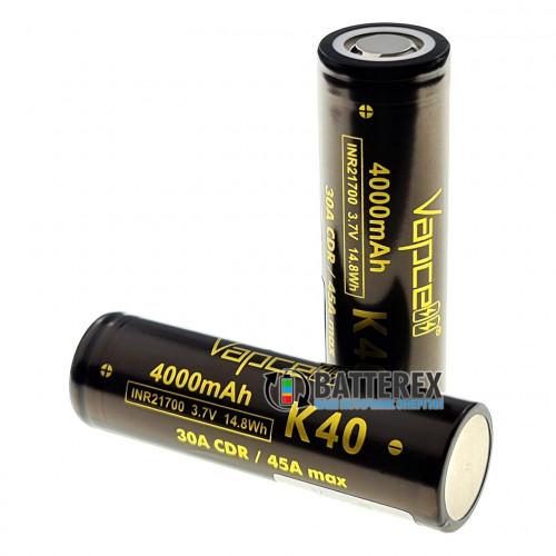 21700 Vapcell INR K40 4000mah 3.7V 30/45A высокотоковый - реальная ёмкость и токоотдача