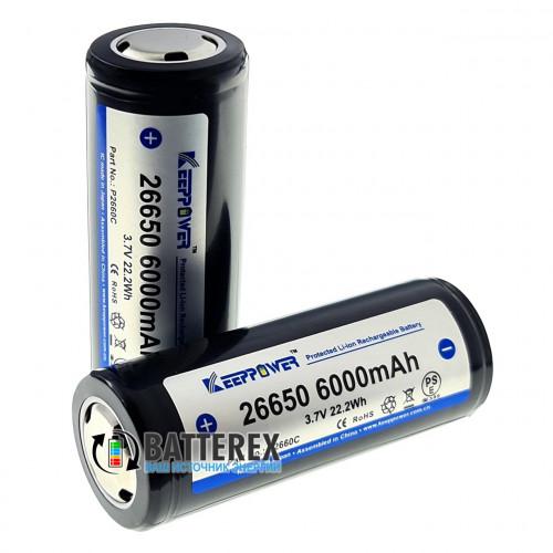 26650 Keeppower 6000mah 3,7V 10A Protected - с защитой