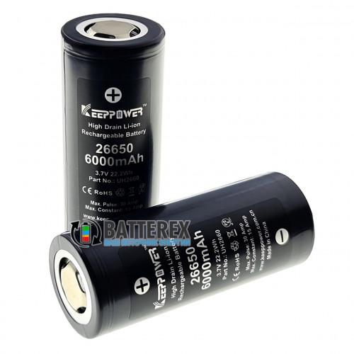 26650 Keeppower IMR 6000mah 3,7V высокотоковый 20A без защиты