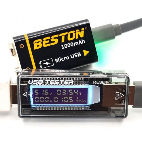 Аккумулятор Крона Li-ion Beston 9V 1000mah с зарядкой от micro USB + кабель в комплекте - реальная ёмкость