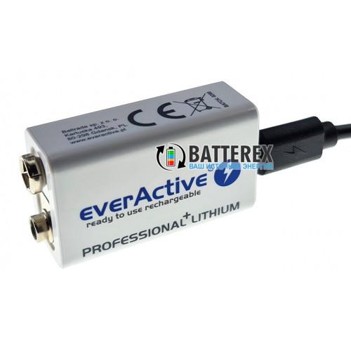 Аккумулятор Крона Li-ion Everactive 9V 550mah с зарядкой от micro USB