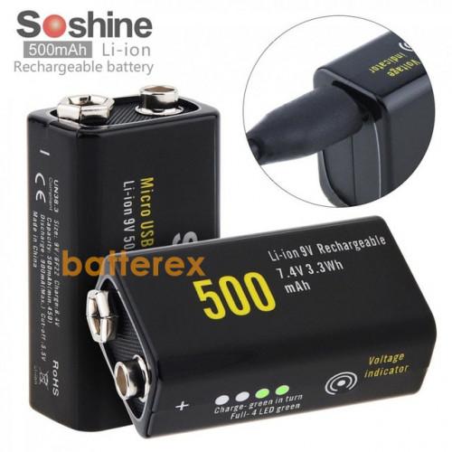 Аккумулятор Крона Li-Ion Soshine 9V 500mah с зарядкой от micro-USB и индикатором уровня заряда + бокс