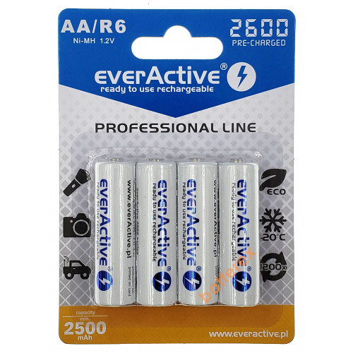AA EverActive 2600mah с низким саморазрядом на 1200 циклов - упаковка 4 шт в блистере