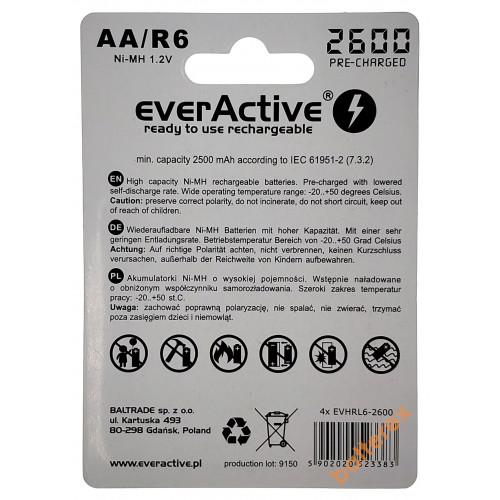 AA EverActive 2000mah с низким саморазрядом на 1200 циклов  - упаковка 4 шт в блистере