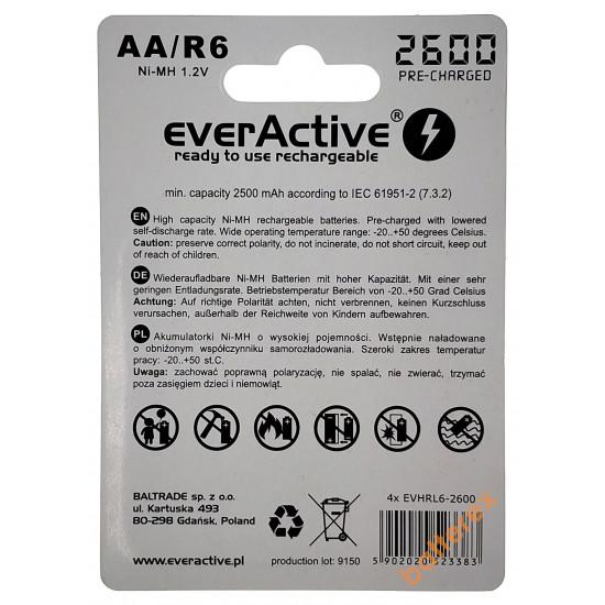 Пальчиковые АА аккумуляторы EverActive 2600 mah - 4 шт. в блистере