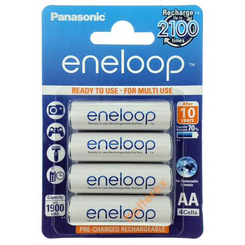 AA Panasonic Eneloop 2000mah (1900mah) BK-3MCCE/4BE - 4 шт. в картонном блистере - 2020 год