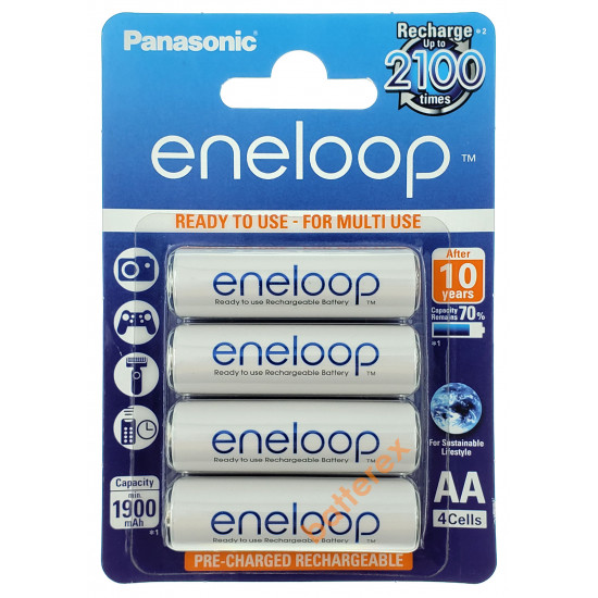 AA аккумуляторы Panasonic Eneloop 2000 mah BK-3MCCE - упаковка 4 шт. в картонном блистере