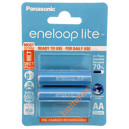 Аккумулятор AA Panasonic Eneloop Lite 1000mah BK-3LCCE/2BE - 2 аккумулятора в блистере (цена за упаковку)