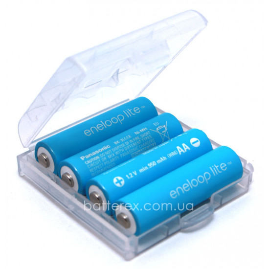 Аккумулятор AA Panasonic Eneloop Lite 1000 mah BK-3LCCE (3000 циклов) - 4 шт. в пластиковом боксе
