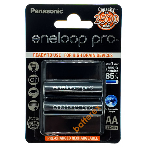 AA Panasonic Eneloop Pro 2600 mah BK-3HCDE - 2 шт. в блистере (цена за упаковку)