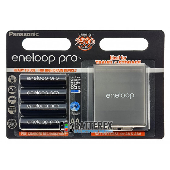 Аккумуляторы AA Panasonic Eneloop Pro 2600 mah BK-3HCDE - картонная упаковка 4 шт в комплекте с фирменным боксом