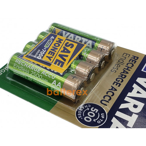 AA Varta Endless 2500 mah Pre-Charged - 4 аккумулятора в блистере