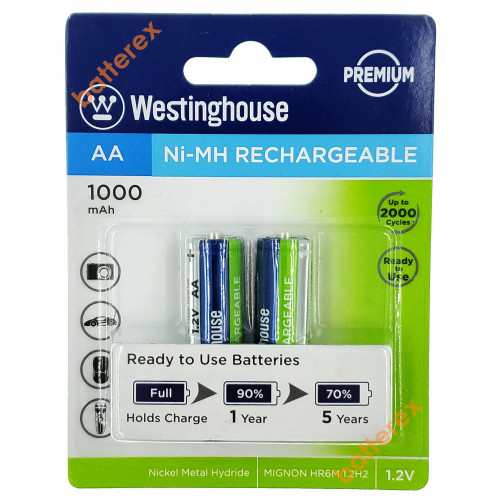 AA Westinghouse Premium 1000 mah - 2 аккумулятора в блистере