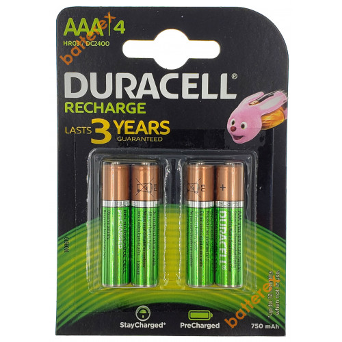 AAA Duracell Recharge 750 mah - 4 аккумулятора в блистере - 2019 год