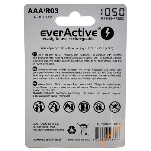 AAA EverActive 1050 mah - 4 аккумулятора в блистере