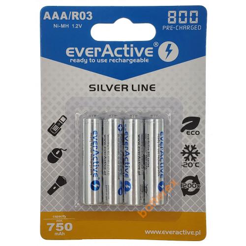 AAA EverActive 800 mah Silver Line - 4 аккумулятора в блистере