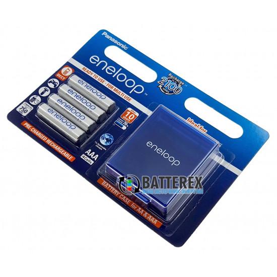 AAA Panasonic Eneloop 800 mah BK-4MCCE/C4BE - упаковка в блистере 4 аккумулятора + фирменный бокс Eneloop