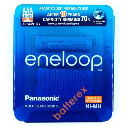 AAA Panasonic Eneloop 800 mah BK-4MCCE/4LE - 4 аккумулятора в слайд-блистере Sliding Pack - 2020 год