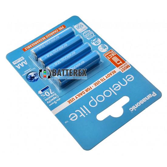 Аккумуляторы AAA Panasonic Eneloop Lite 600 mah BK-4LCCE/4BE (3000 циклов) - 4 аккумулятора в блистере