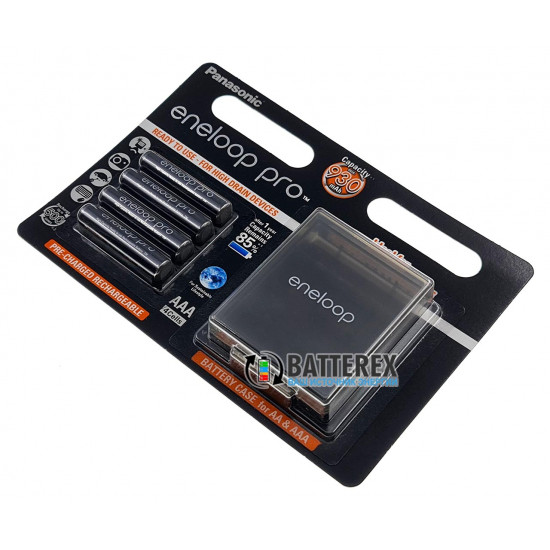 Аккумуляторы AAA Panasonic Eneloop Pro 980mah BK-4HCDE - упаковка в блистере 4 аккумулятора + фирменный бокс Eneloop