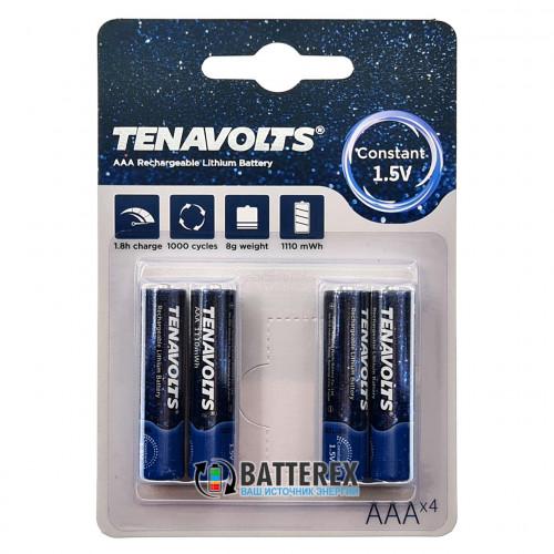AAA Li-ion Tenavolts 1110mWh 740mah 1,5V - стабильное напряжение 1,5В - 4 шт. в блистере