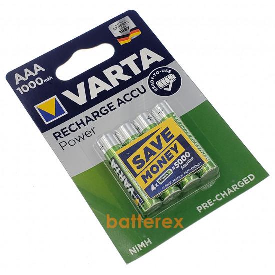Аккумуляторы AAA Varta 1000 mah (4 шт. в блистере)