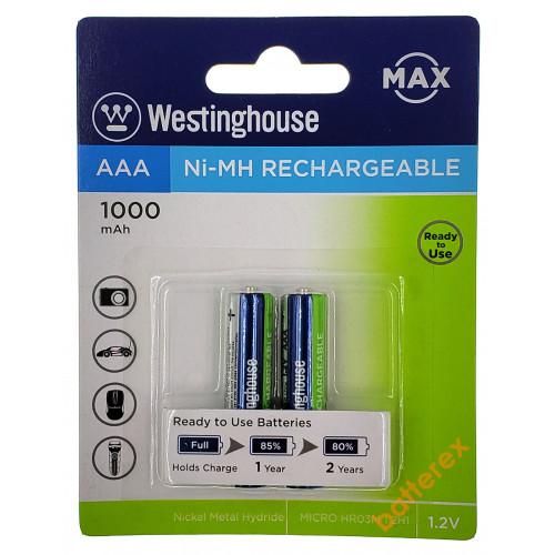 AAA Westinghouse MAX 1000 mah - 2 аккумулятора в блистере