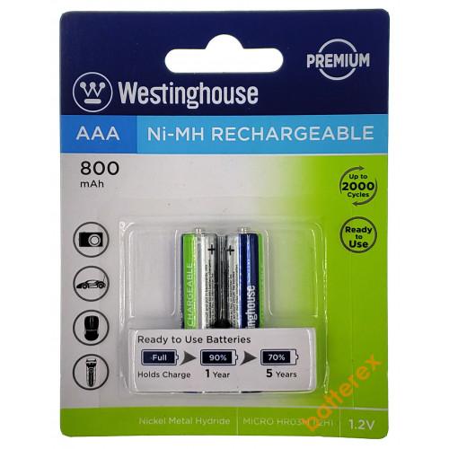 AAA Westinghouse Premium 800 mah - 2 аккумулятора в блистере