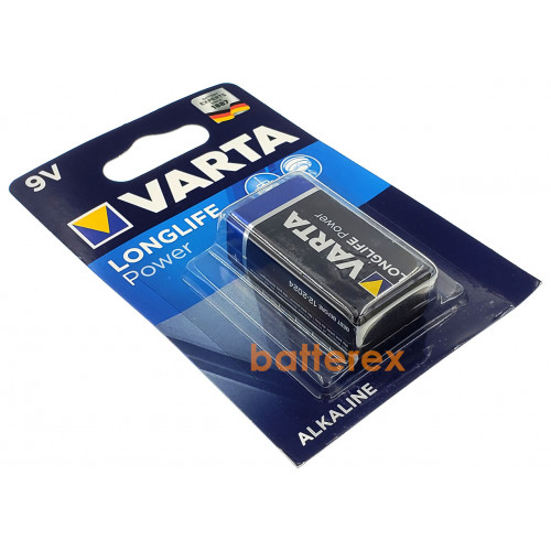 Батарейка Крона 9V 6F22 6LR61 Varta Alkaline Longlife Power