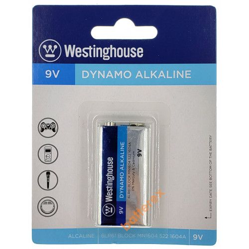 Батарейка Крона 9V 6F22 6LR61 Westinghouse Dynamo Alkaline