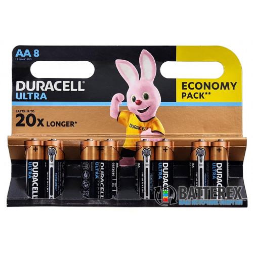 Батарейки АА Alkaline Duracell Ultra Powercheck LR6 1.5V с проверкой заряда - упаковка 8 шт.