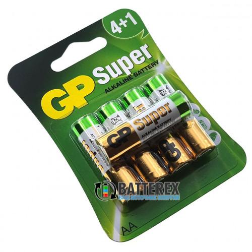 Батарейки щелочные АА GP Super Alkaline LR6 1.5V - 5 шт. в блистере